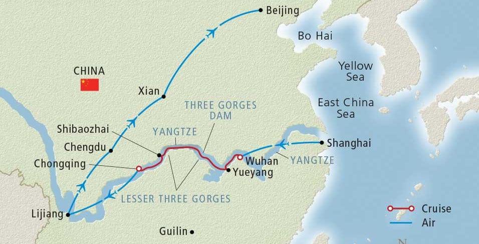 Viking Undiscovered China Tour Map