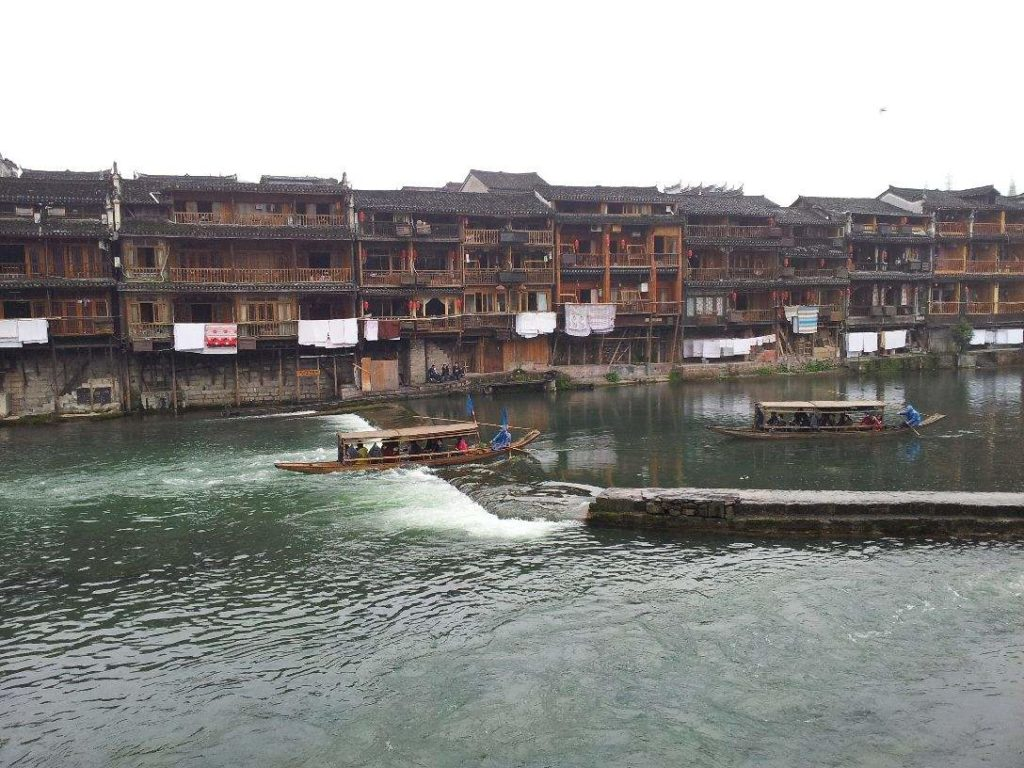 Stilt House of Tujia Ethnic Groups along the River