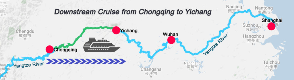 Yangtze River Cruises Downstream Cruise Map