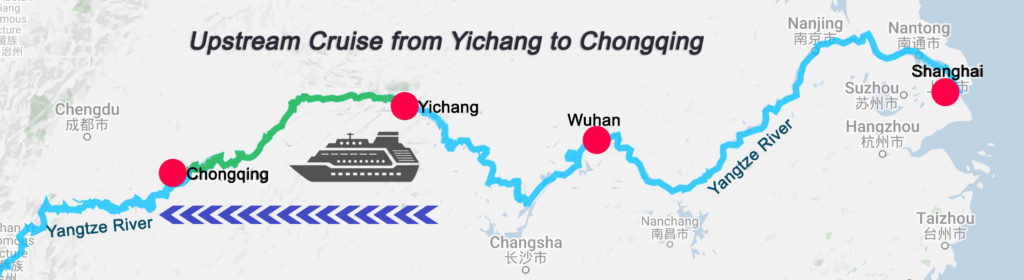 Yangtze River Cruises Upstream Cruise Map